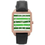 Metallic Green Glitter Stripes Rose Gold Leather Watch  Front