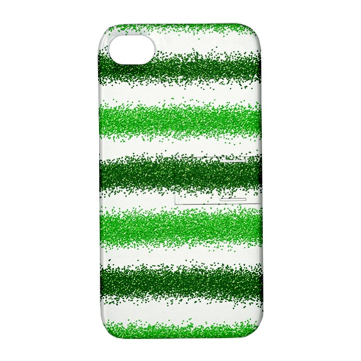 Metallic Green Glitter Stripes Apple iPhone 4/4S Hardshell Case with Stand