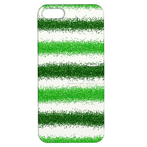 Metallic Green Glitter Stripes Apple iPhone 5 Hardshell Case with Stand