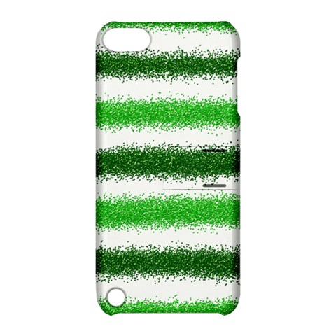 Metallic Green Glitter Stripes Apple iPod Touch 5 Hardshell Case with Stand