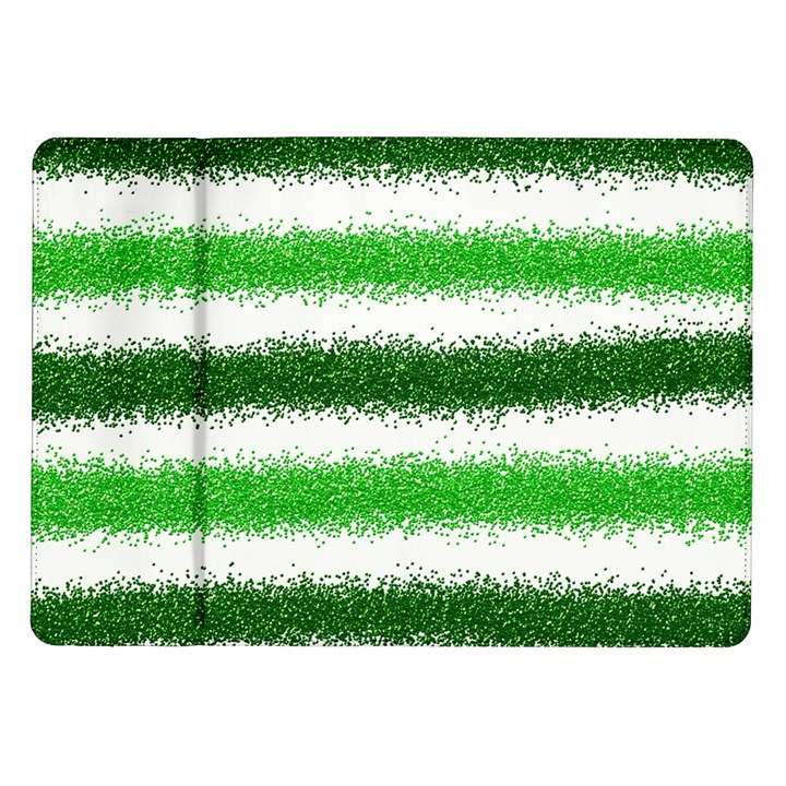 Metallic Green Glitter Stripes Samsung Galaxy Tab 10.1  P7500 Flip Case