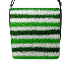 Metallic Green Glitter Stripes Flap Messenger Bag (L)
