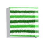 Metallic Green Glitter Stripes 4 x 4  Acrylic Photo Blocks Front