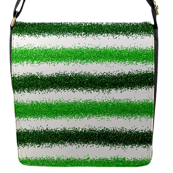 Metallic Green Glitter Stripes Flap Messenger Bag (S)