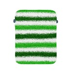 Metallic Green Glitter Stripes Apple iPad 2/3/4 Protective Soft Cases Front