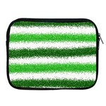 Metallic Green Glitter Stripes Apple iPad 2/3/4 Zipper Cases Front