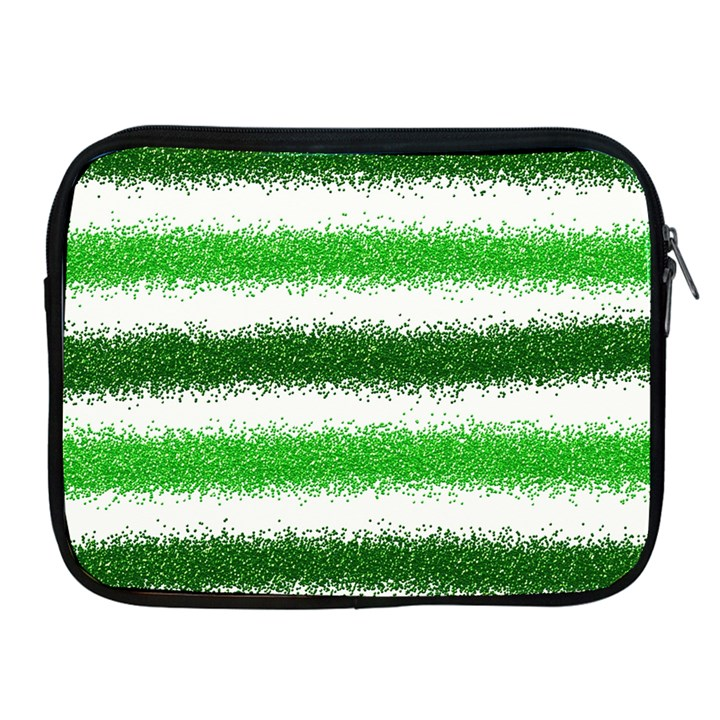Metallic Green Glitter Stripes Apple iPad 2/3/4 Zipper Cases
