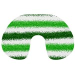 Metallic Green Glitter Stripes Travel Neck Pillows Front
