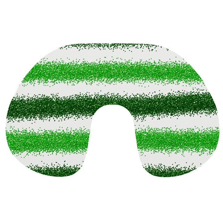 Metallic Green Glitter Stripes Travel Neck Pillows