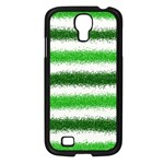 Metallic Green Glitter Stripes Samsung Galaxy S4 I9500/ I9505 Case (Black) Front