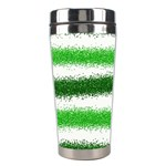 Metallic Green Glitter Stripes Stainless Steel Travel Tumblers Right