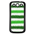 Metallic Green Glitter Stripes Samsung Galaxy S3 Back Case (Black) Front