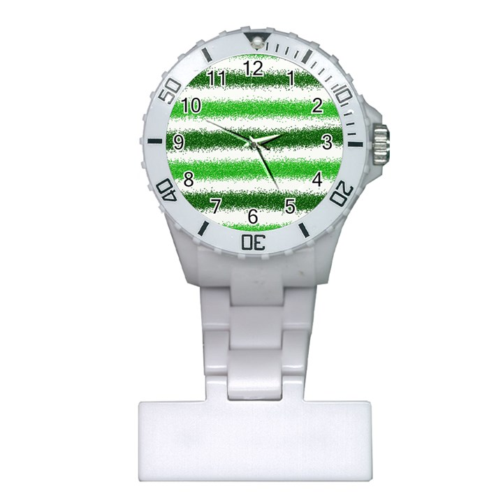 Metallic Green Glitter Stripes Plastic Nurses Watch