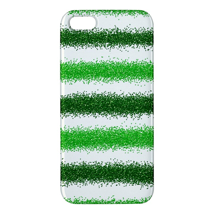 Metallic Green Glitter Stripes iPhone 5S/ SE Premium Hardshell Case