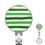 Metallic Green Glitter Stripes Stainless Steel Nurses Watch Front