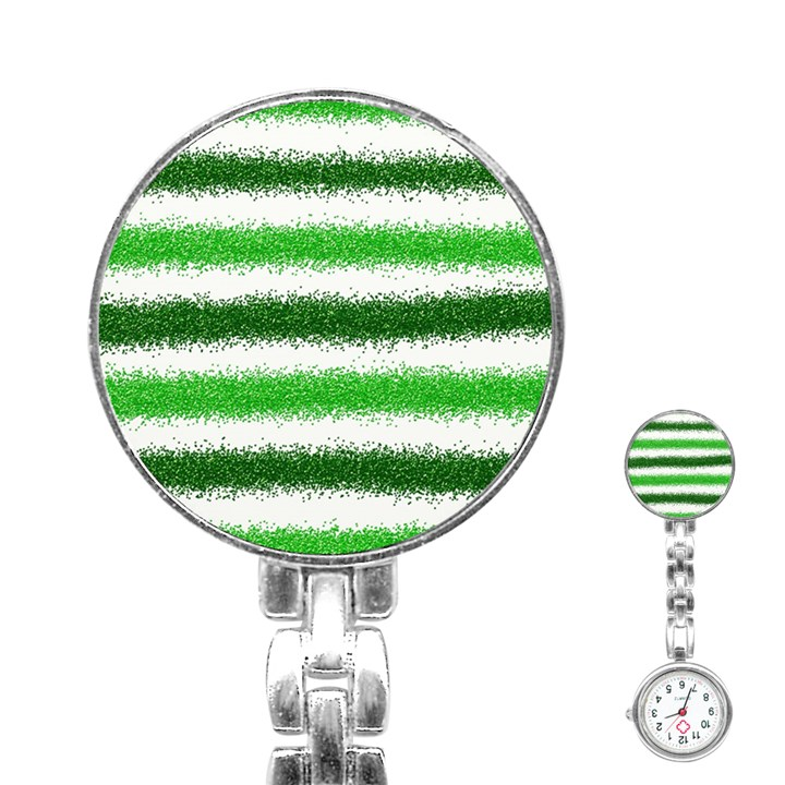 Metallic Green Glitter Stripes Stainless Steel Nurses Watch