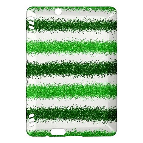 Metallic Green Glitter Stripes Kindle Fire HDX Hardshell Case