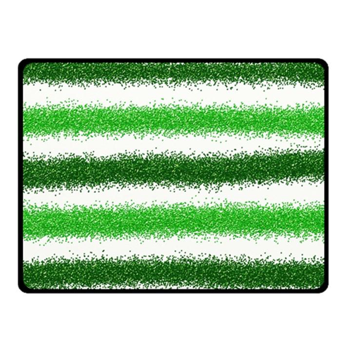 Metallic Green Glitter Stripes Double Sided Fleece Blanket (Small)