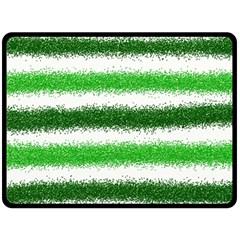 Metallic Green Glitter Stripes Double Sided Fleece Blanket (Large)