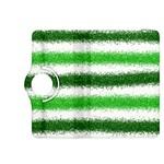Metallic Green Glitter Stripes Kindle Fire HDX 8.9  Flip 360 Case Front