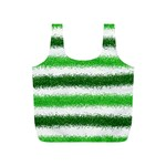 Metallic Green Glitter Stripes Full Print Recycle Bags (S)  Front
