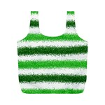 Metallic Green Glitter Stripes Full Print Recycle Bags (M)  Front