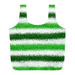Metallic Green Glitter Stripes Full Print Recycle Bags (L)  Front