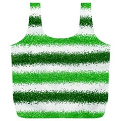 Metallic Green Glitter Stripes Full Print Recycle Bags (L)