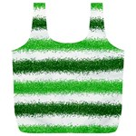 Metallic Green Glitter Stripes Full Print Recycle Bags (L)  Back