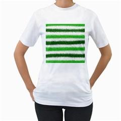 Metallic Green Glitter Stripes Women s T-Shirt (White)