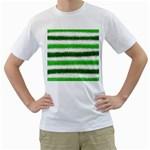 Metallic Green Glitter Stripes Men s T-Shirt (White)  Front