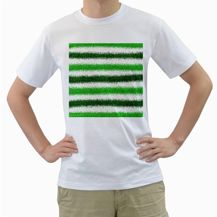 Metallic Green Glitter Stripes Men s T-Shirt (White)