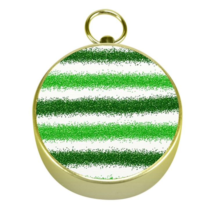 Metallic Green Glitter Stripes Gold Compasses