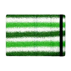 Metallic Green Glitter Stripes iPad Mini 2 Flip Cases
