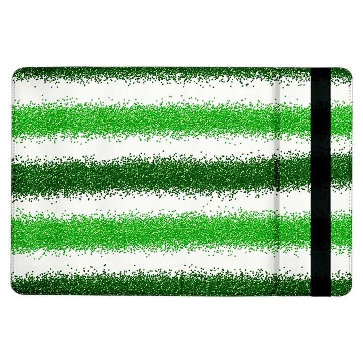 Metallic Green Glitter Stripes iPad Air Flip