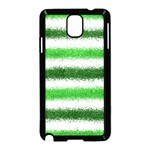 Metallic Green Glitter Stripes Samsung Galaxy Note 3 Neo Hardshell Case (Black) Front
