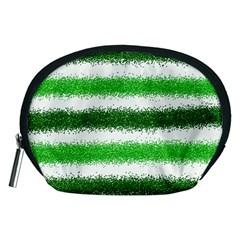 Metallic Green Glitter Stripes Accessory Pouches (Medium)