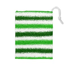 Metallic Green Glitter Stripes Drawstring Pouches (Large)