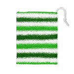 Metallic Green Glitter Stripes Drawstring Pouches (Large)  Front