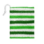 Metallic Green Glitter Stripes Drawstring Pouches (Large)  Back