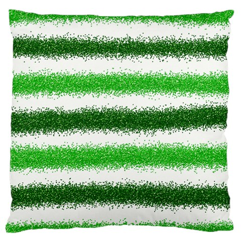 Metallic Green Glitter Stripes Standard Flano Cushion Case (Two Sides)