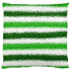 Metallic Green Glitter Stripes Large Flano Cushion Case (Two Sides)