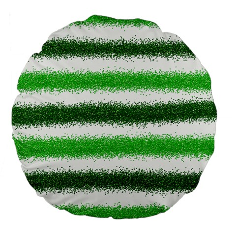 Metallic Green Glitter Stripes Large 18  Premium Flano Round Cushions
