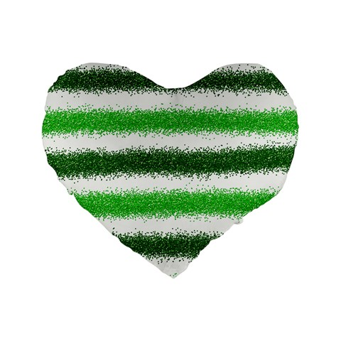 Metallic Green Glitter Stripes Standard 16  Premium Flano Heart Shape Cushions