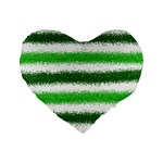 Metallic Green Glitter Stripes Standard 16  Premium Flano Heart Shape Cushions Front