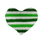 Metallic Green Glitter Stripes Standard 16  Premium Flano Heart Shape Cushions Back