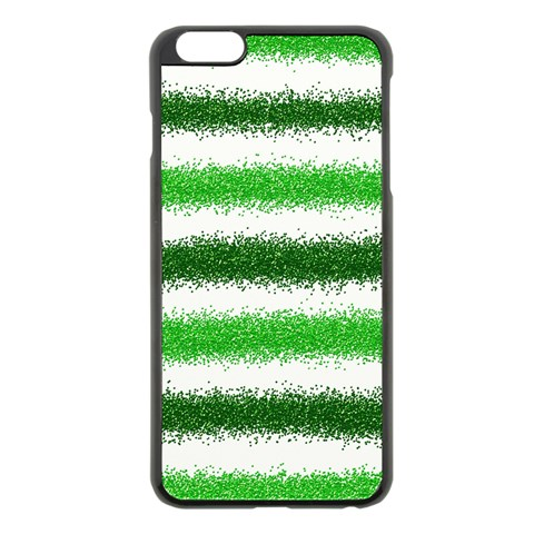 Metallic Green Glitter Stripes Apple iPhone 6 Plus/6S Plus Black Enamel Case