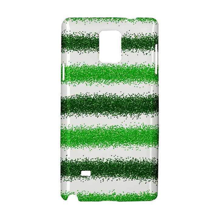 Metallic Green Glitter Stripes Samsung Galaxy Note 4 Hardshell Case