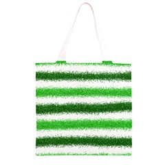 Metallic Green Glitter Stripes Grocery Light Tote Bag