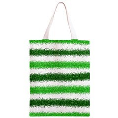 Metallic Green Glitter Stripes Classic Light Tote Bag